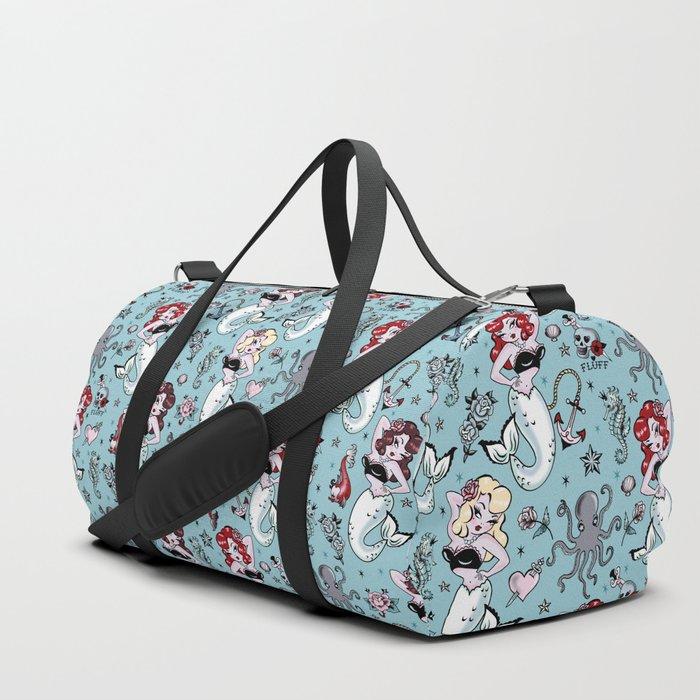 Molly Mermaid vintage pinup inspired nautical tattoo Duffle Bag