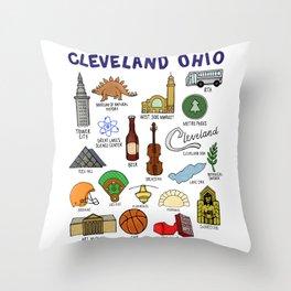 Cleveland Ohio Icons Throw Pillow
