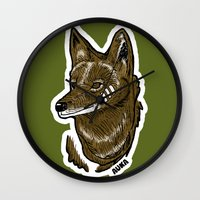 coyote Wall Clocks featuring Coyote by Sergio Campos
