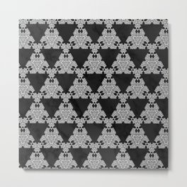 Black Marble Triangle Design Metal Print
