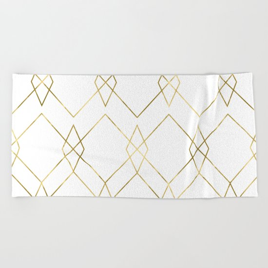 Gold Geometric Beach Towel