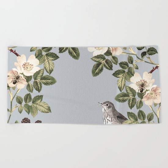 Birds and the Bees Gray Beach Towel