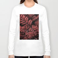 burgundy Long Sleeve T-shirts featuring Burgundy Bracken by Moonshine Paradise