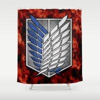 shingeki no kyojin Shower Curtains featuring shield of shingeki  by Blaze-chan
