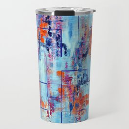 Blue Line Abstract Modern Acrylic Painting, Blue Home Decor Travel Mug