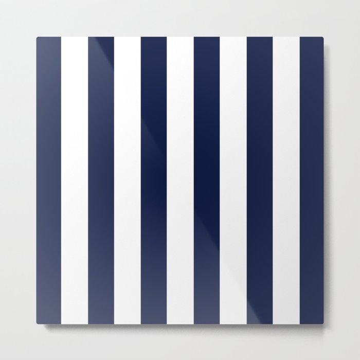 Simply Vertical Stripes in Nautical Navy Blue Metal Print