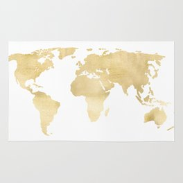 Gold World Map Rug