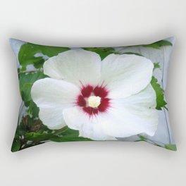 White Hibiscus Flower Ruffle Rectangular Pillow