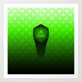 D20 All I Do Is Crit!  Green Ombre Art Print