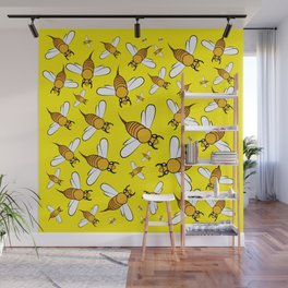 Bees on Yellow Wall Mural