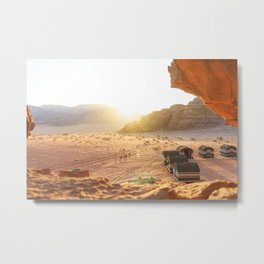 Golden Sunset in Wadi Rum, Jordan Metal Print