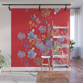 Fridas Flowers in Red Wall Mural