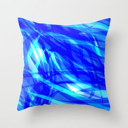 Vector glowing water background made of blue sea lines. Throw Pillow