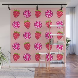 Tropical exotic grapefruit slices and sweet red strawberries summer fruity pastel peach color cute pattern design. Wall Mural