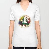 reggae V-neck T-shirts featuring Reggae Music Man by Gary Grayson