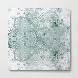 Yoga, Mandala, Prints Green, Wall Art Boho Metal Print