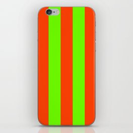 Bright Neon Green and Orange Vertical Cabana Tent Stripes iPhone Skin