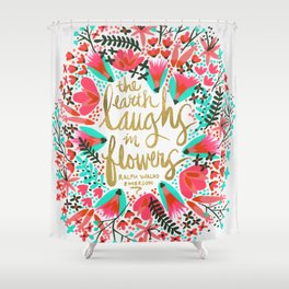The Earth Laughs in Flowers – Pink & Gold Shower Curtain