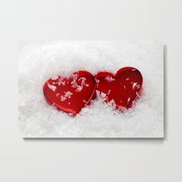 Love Hearts in Snow Metal Print