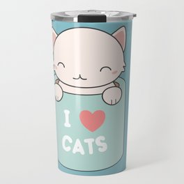 Kawaii Cute I Love Cats Travel Mug