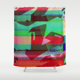 Bottle Glitch Shower Curtain