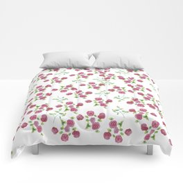 Watercolor roses on white backgroung Comforters
