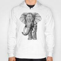 orange pattern Hoodies featuring Ornate Elephant by BIOWORKZ