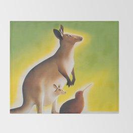 Kangaroo and Kiwi Bird Vintage Art Throw Blanket