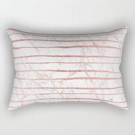 Stylish rose gold glitter stripes white marble pattern Rectangular Pillow