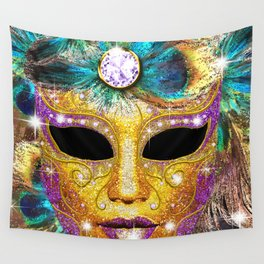 Golden Carnival Mask Wall Tapestry