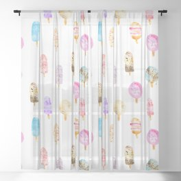 Dolce vita || watercolor ice cream summer pattern Sheer Curtain