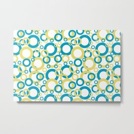 Blue Green, Yellow, White Geometric Ring Pattern 2021 Color of the Year AI Aqua 098-59-30 Metal Print