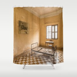 S21 Building B Cell I - Khmer Rouge, Cambodia Shower Curtain