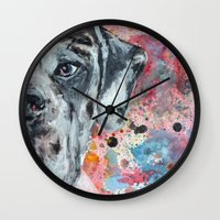 great dane Wall Clocks featuring Harle Great Dane by Doggen im Haus