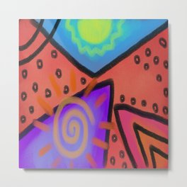 Funky Abstract Digital Painting Metal Print