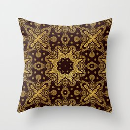 golden flowers on the brown background Throw Pillow