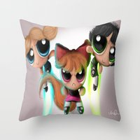 powerpuff girls Throw Pillows featuring Powerpuff Girls by A.D.A. Apparel