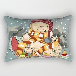 Christmas childish illustration with bear and snow Rectangular Pillow