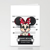 minnie mouse Stationery Cards featuring Bad Guys / Minnie Mouse by mebz art