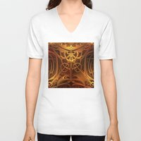 metallic V-neck T-shirts featuring Metallic Marvel by Lyle Hatch
