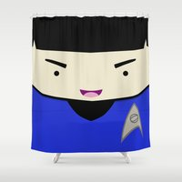 spock Shower Curtains featuring Spock in a Box by Jenna Mhairi