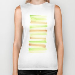 [170105] 5 Color Study Green Brown  |Watercolor Brush Stroke Biker Tank