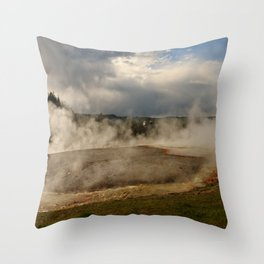A Cloud Of Steam And Water Over A Geyser Throw Pillow