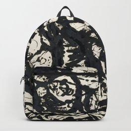 A black and white Jackson Pollock style art digitally vectorised Backpack