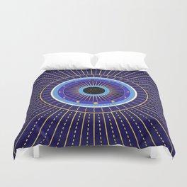 Cobalt Blue Evil Eye Mandala  with Moon Phases Duvet Cover