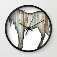 wooden Wall Clocks featuring Wooden horse by Vin Zzep