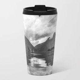 Black and White Milford Sound Travel Mug
