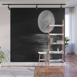 Full Moon, Moonlight Water, Moon at Night Painting by Jodi Tomer. Black and White Wall Mural