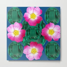 Contemporary GREEN GEMS MODERN PINK ROSE ART DESIGN Metal Print