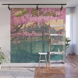 Yoshida Kameidô Japanese Woodblock Print Vintage Asian Art Wisteria Garden Bridge Wall Mural